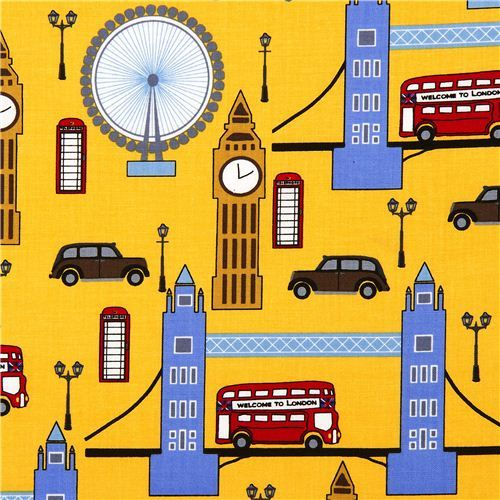 yellow London fabric with Big Ben by Robert Kaufman USA