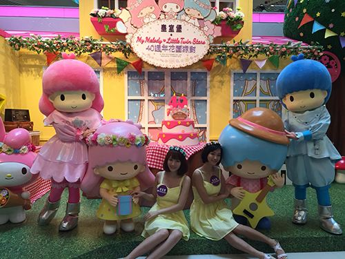 The cute Sanrio characters surprise shoppers in Hong Kong.