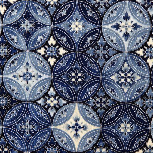Robert Kaufman fabric with blue flower ornament silver
