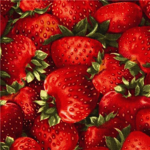 Robert Kaufman fabric with red strawberries