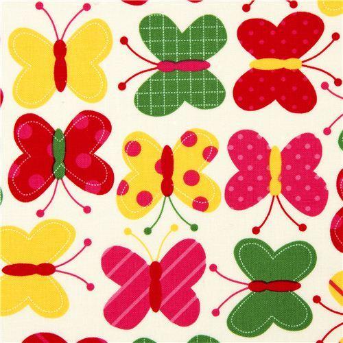 off-white fabric with butterflies Robert Kaufman