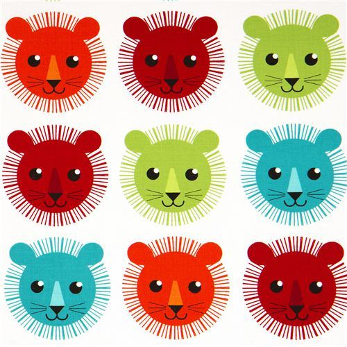 white fabric with colourful lions by Robert Kaufman