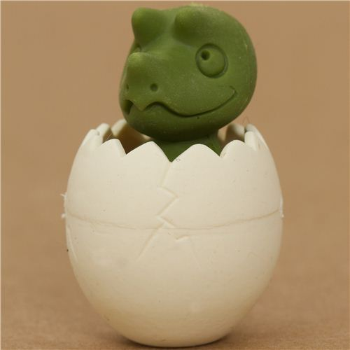 green dinosaur in egg eraser by Iwako from Japan