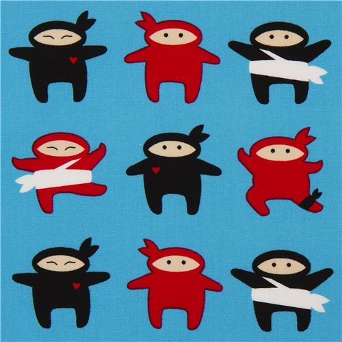 blue ninja fighter fabric by Robert Kaufman USA