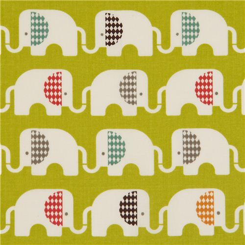 green birch elephant organic fabric Ele Train