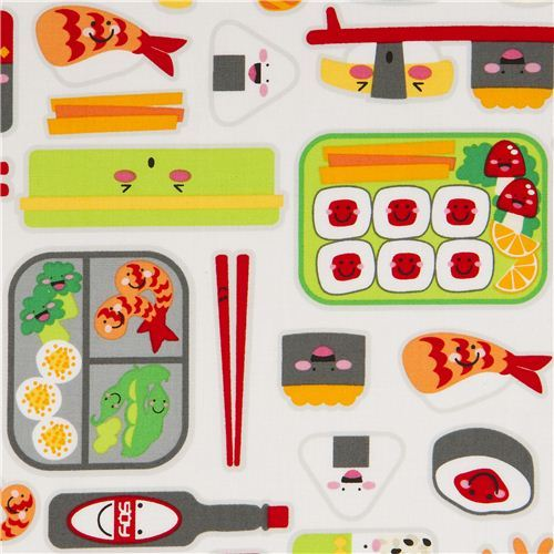 white sushi fabric by Robert Kaufman USA kawaii