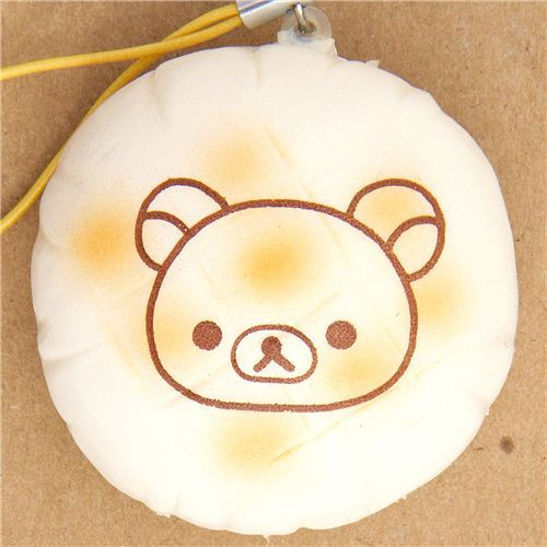 white Rilakkuma bear bread squishy cellphone charm