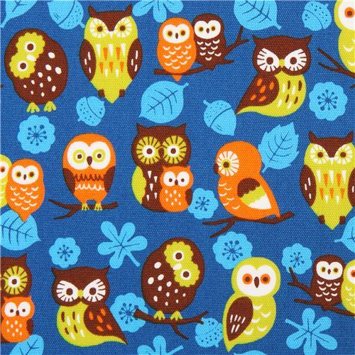 blue Cosmo owl oxford fabric leaf acorn Japan