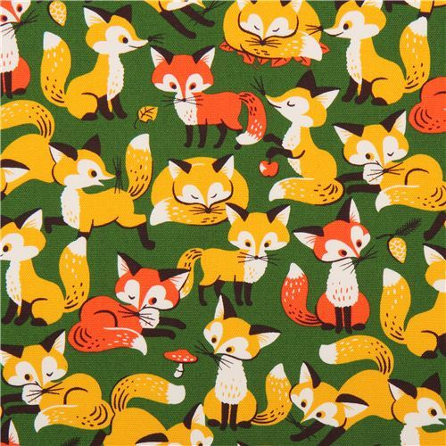 green fox forest animal oxford fabric Cosmo Japan