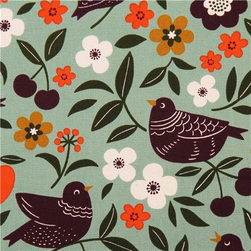 turquoise bird flower oxford fabric by Cosmo from Japan