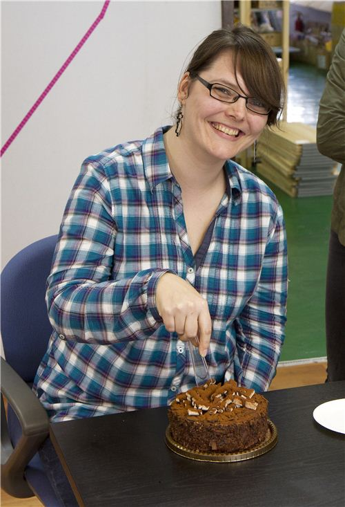 Look how happy she is about the cake! It is Biancas birthday