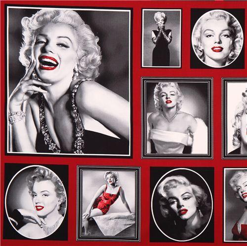 red Marylin Monroe fabric Robert Kaufman Hollywood Icons