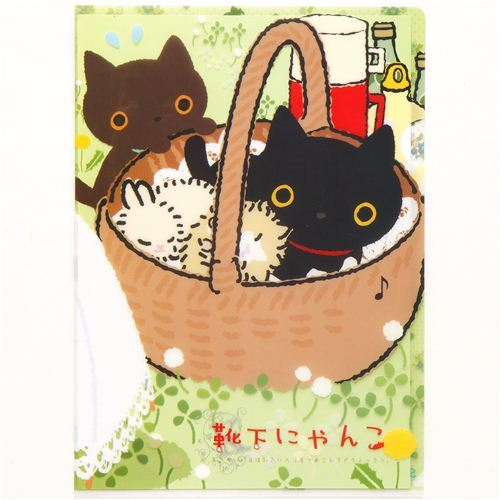Kutusita Nyanko cat in basket A4 plastic file folder