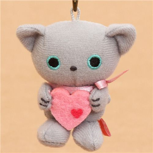 Kutusita Nyanko plush charm grey cat heart