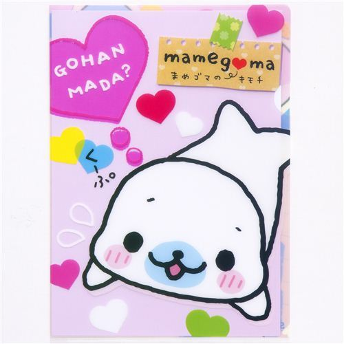 Mamegoma baby seals A4 plastic file folder with hearts