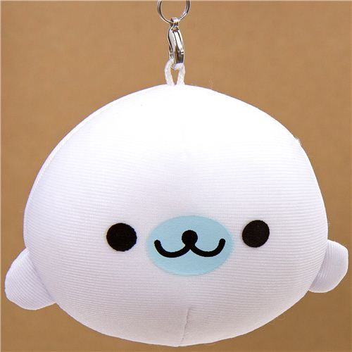 white Mamegoma baby seal squeezable charm