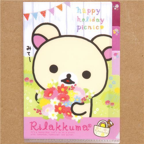 Rilakkuma small plastic folder 3-pocket picnic flowers