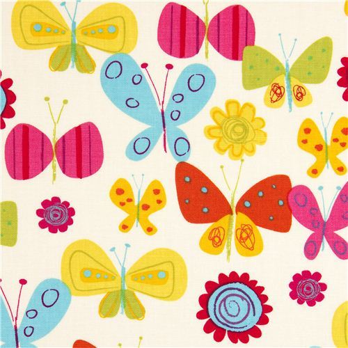 off-white Robert Kaufman fabric flower butterfly