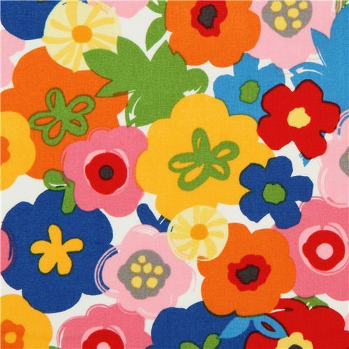 white flower fabric by Robert Kaufman from the USA