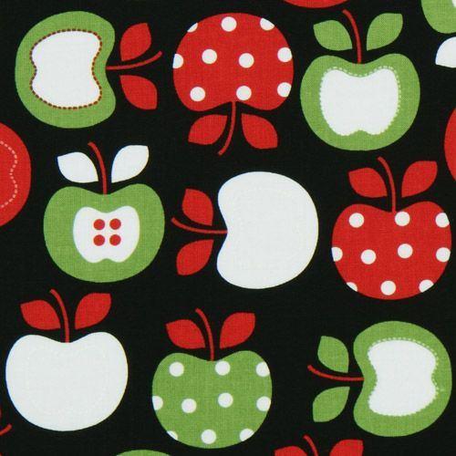 beautiful colourful apples fabric black Robert Kaufman