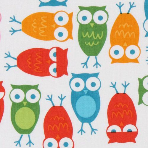 cute colourful owls fabric Robert Kaufman kawaii