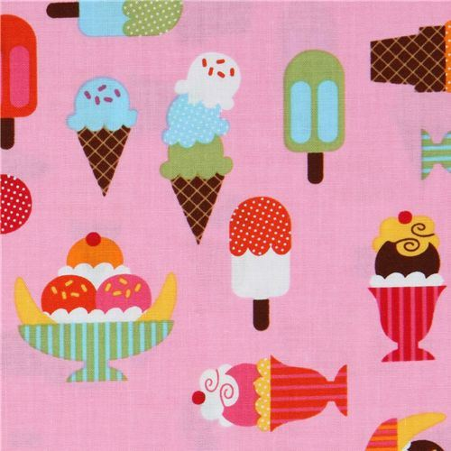 pink fabric ice cream cups Robert Kaufman kawaii