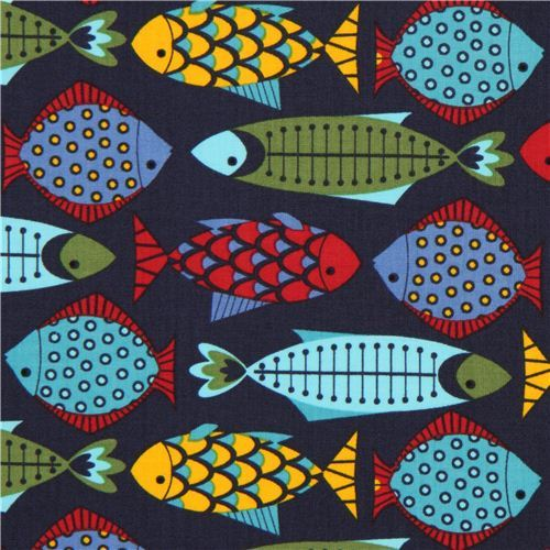 navy blue Timeless Treasures animal fabric colourful fish