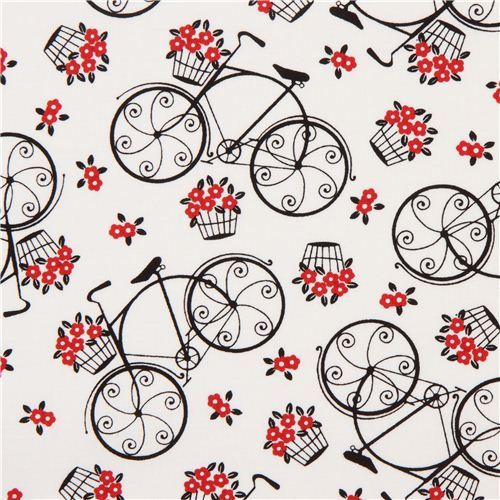 white romantic bike fabric by Timeless Treasures