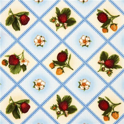 off-white fabric strawberry & flower Robert Kaufman