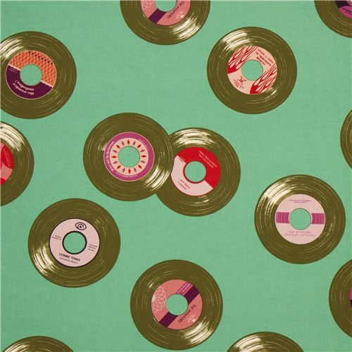 mint green disk record retro fabric by Kokka from Japan