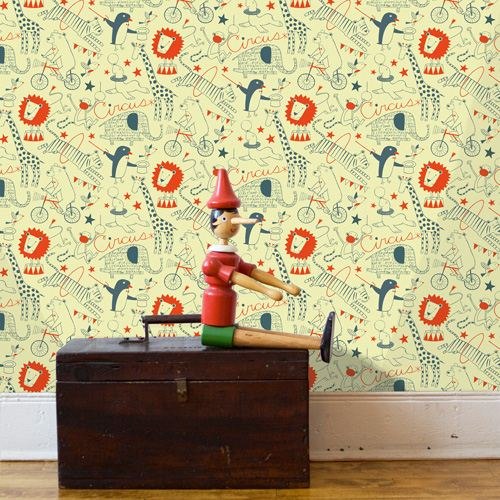 The cute Nancy Wolff circus design is also available as wallpaper