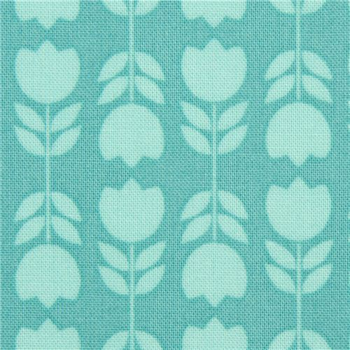 teal mini tulips fabric by Michael Miller from the USA