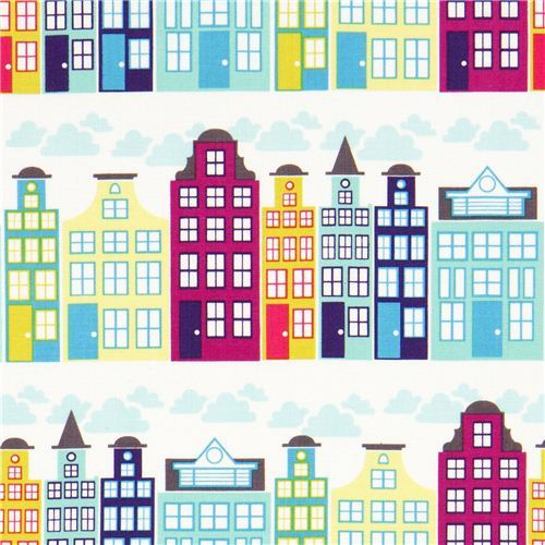 white city panorama fabric turquoise by Michael Miller USA