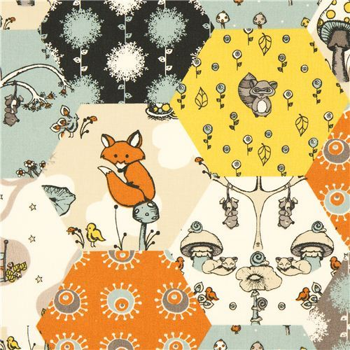 colourful birch forest animal organic fabric from the USA