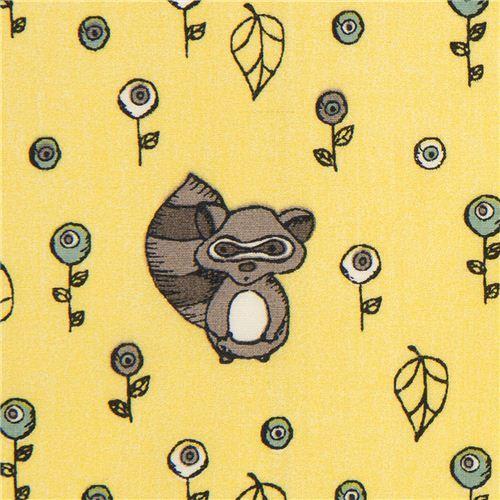 yellow birch raccoon organic fabric from the USA