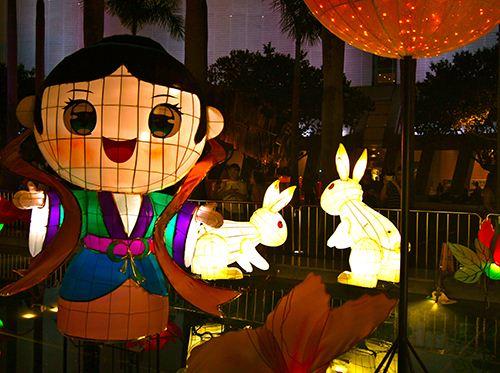 Colorful girl lanterns in Hong Kong.