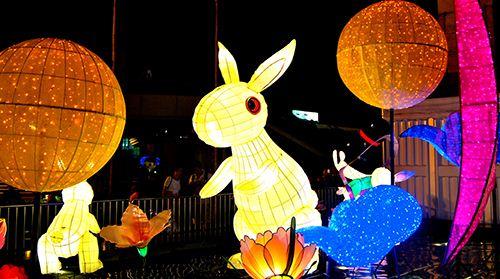 Colorful bunny lanterns in Hong Kong.