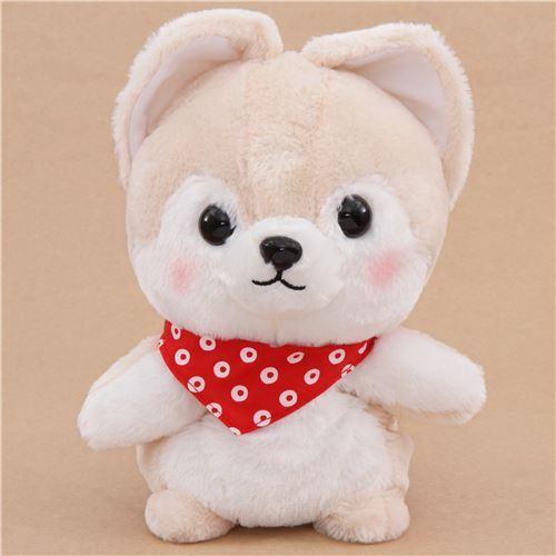 cream dog hand puppet Mameshiba San Kyodai plush toy from Japan