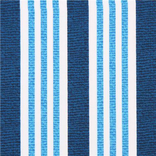 blue white stripe fabric Michael Miller