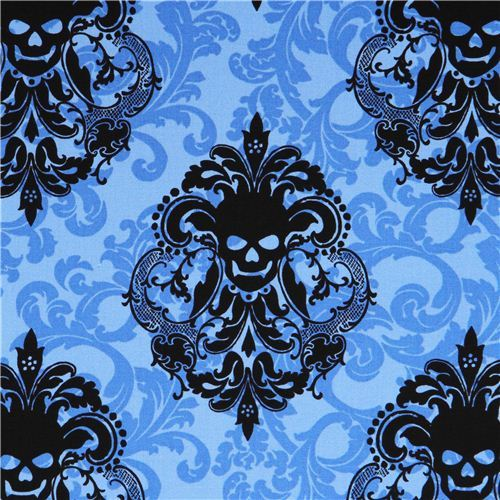 light blue fabric with blue black leaf and Skulls 'Goth Damask' Michael Miller