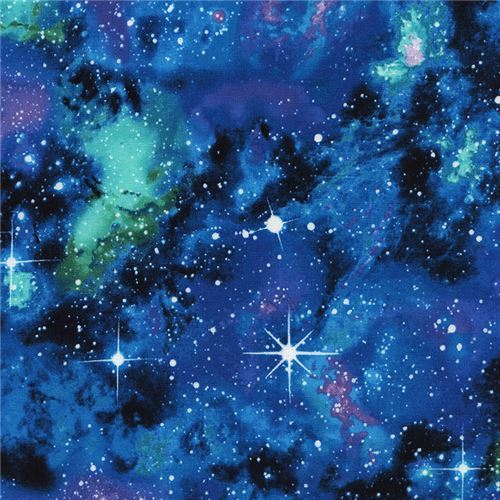 black blue turquoise purple space stars fabric by Timeless Treasures