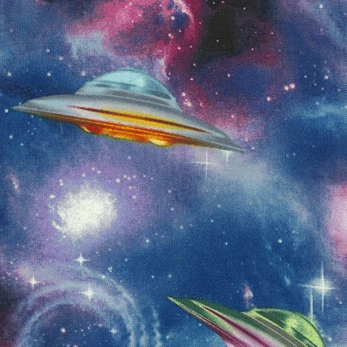 galaxy fabric with spaceship UFO by Timeless Treasures