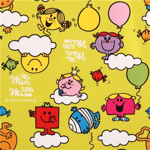 lime green Mr. Men and Little Miss clouds Sanrio oxford fabric from Japan