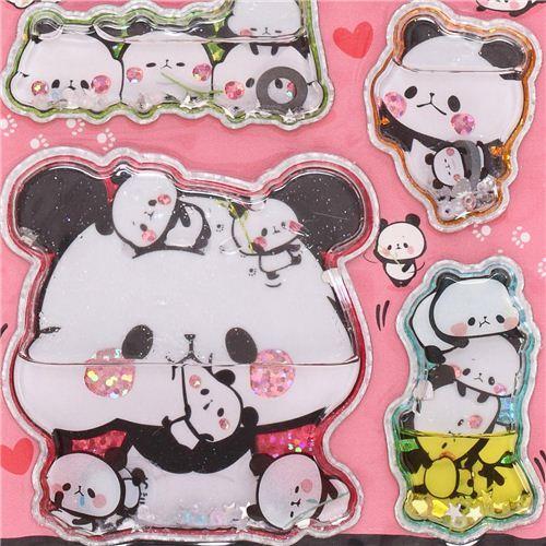Japanese Kamio Mochi pandas water capsule stickers