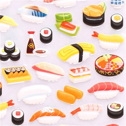 Japanese Sushi 3D sponge sticker book set by Kamio