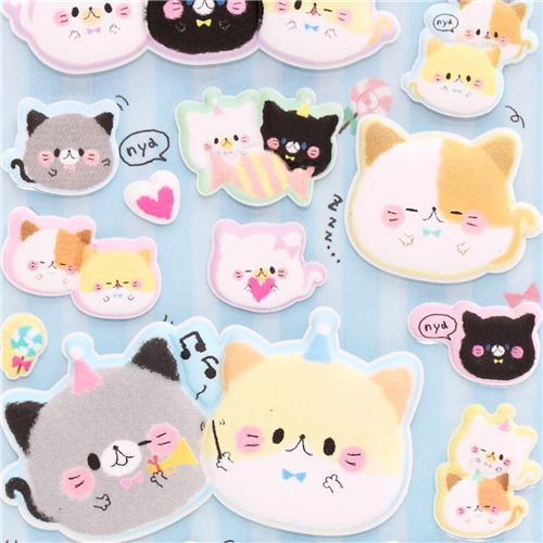 Kamio round cats animal puffy sponge stickers from Japan