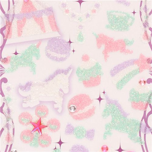 pastel unicorn macaron big top glitter stickers from Japan