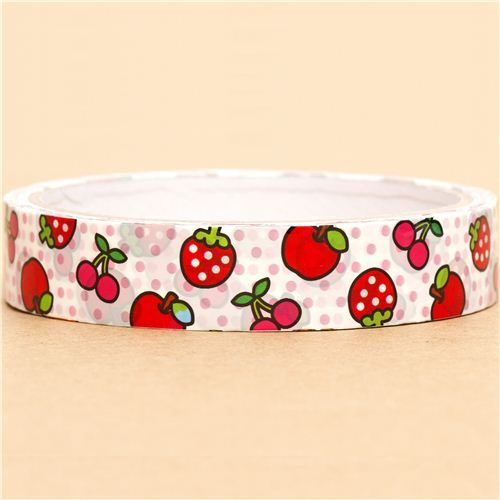 kawaii Scotch Deco Tape with strawberry cherry apple