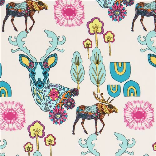 cream fabric with colorful moose animal cactus by Art Gallery Fabrics