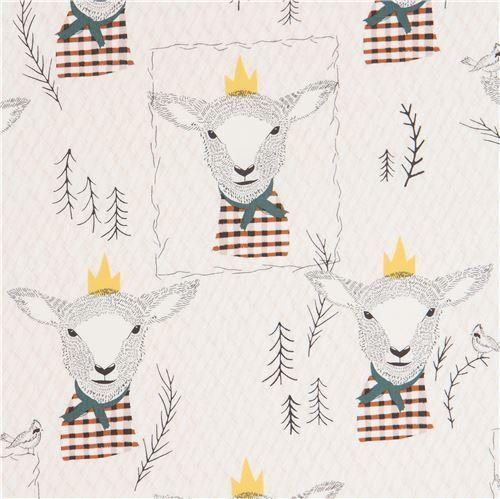 light beige fabric with lamb sheep animal by Art Gallery Fabrics